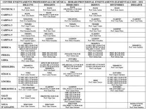 horari assignatures elementals 2020/2021 SAMA